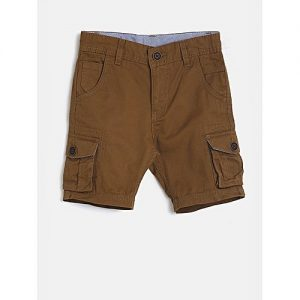 Aashi Brown Solid Regular Fit Cargo Shorts mw 338