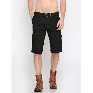 Aashi Men Black Solid Regular Fit Cargo Shorts mw 339