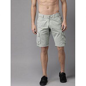Aashi Men Green Solid Regular Fit Cargo Shorts mw 333