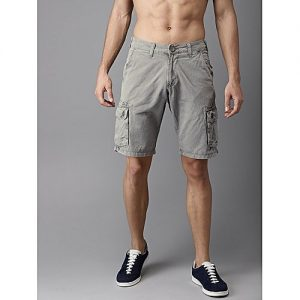 Aashi Men Grey Solid Regular Fit Cargo Shorts mw 335