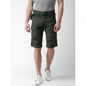 Aashi Men Grey Solid Regular Fit Cargo Shorts mw 340