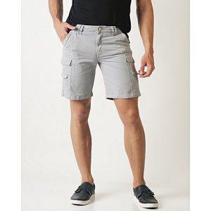 Aashi Men Grey Solid Slim Fit Cargo Shorts mw 332