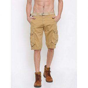 Aashi Men Khaki Solid Regular Fit Cargo Shorts mw 331