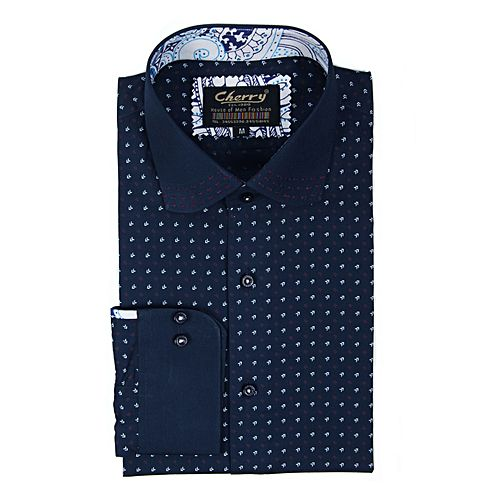CHERRYS Navy Cotton Dotted Shirt For Men