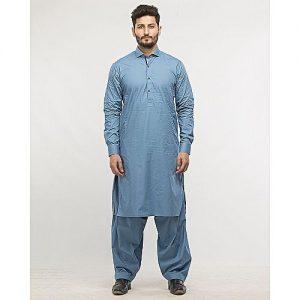 Shahzeb Saeed Blue Cotton regular-fit Shalwar Kameez SS 39