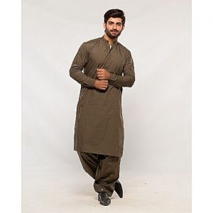 Shahzeb Saeed Green Slim Fit Cotton Shalwar Kameez for Men SS 42