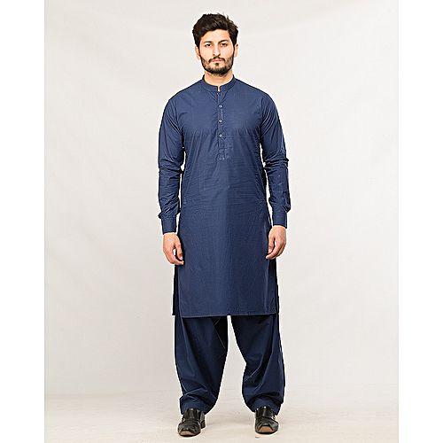 3b02e8fde0 Product Description. Shahzeb Saeed Men's Wear Navy Blue Shalwar Kameez ...