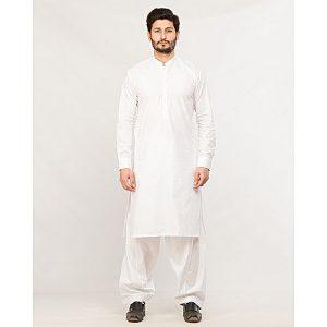 Shahzeb Saeed Menswear White Shalwar Kameez for Male SS 37
