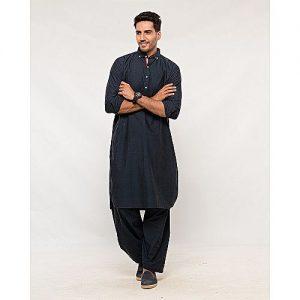 Shahzeb Saeed Navy Blue Regular Fit Cotton Shalwar Kameez for Mens SS 44