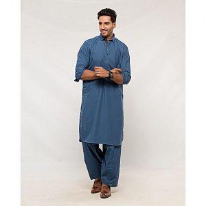 Shahzeb Saeed Royal Blue Regular Fit Cotton Shalwar Kameez for Men SS 45