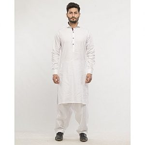 Shahzeb Saeed White Cotton slim-fit Shalwar Kameez SS 41