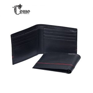 Corio Custom Made Black Cow leather Wallet For Men