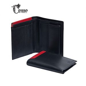 Corio Custom Made Shoes Black Cow leather Wallet For Men's