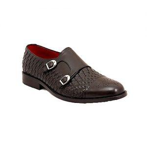 Corio Custom Made Shoes Black Men Classic Double Monk Design