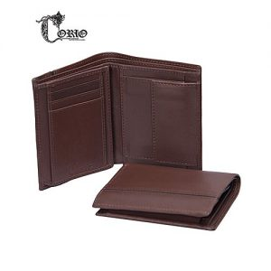 Corio Custom Made Brown Cow leather Wallet For Mens