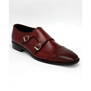 Corio Custom Made Shoes Burgandy Double Monk Strip Up Design