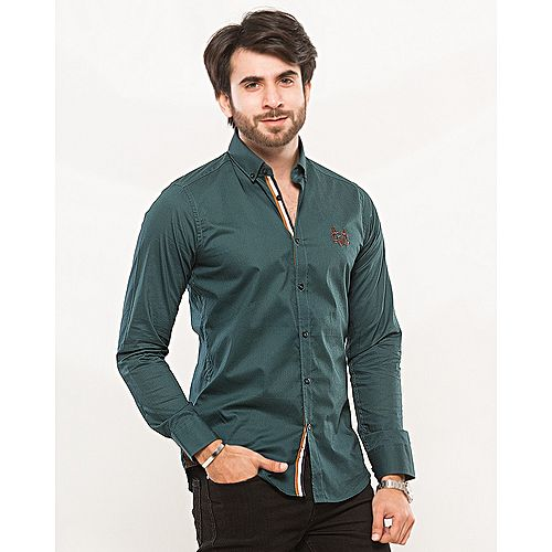 Nabeel & Aqeel Embroidery Deep Green Button Down Cotton Shirt mw30