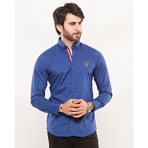 Nabeel & Aqeel King Club Signature Embroidery Royal Blue Slim Fit Cotton Shirt mw43