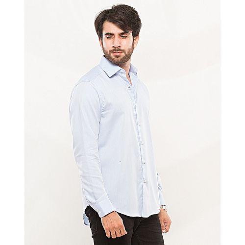 Nabeel & Aqeel Sky Blue Self Check Formal Regular Fit Cotton Shirt mw44