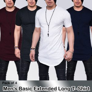 Pack of 4 Men's Basic Extended Long T-Shirt MW200818-14