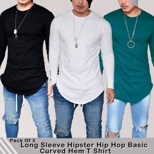 Pack of 3 Long Sleeve Hipstar Hip Hop Basic Curved Hem T-Shirt MW200818-17