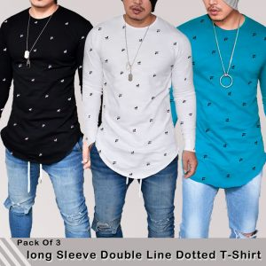 Pack Of 3 Long Sleeve double line dotted t-shirt MW200818-18