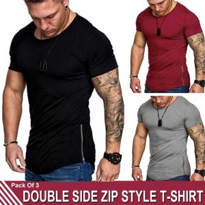 Pack Of 3 Double Zip Style T-Shirt MW200818-4