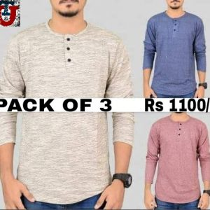 Bundle of 3 stylish full sleeve round neck t-shirt MW200818-7