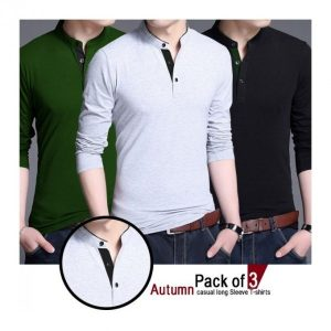 bundle of 3 autumn casual long sleeve T-Shirt MW200818-8