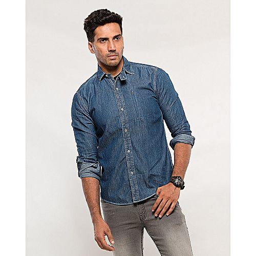 864c7ca1e81 Asset Blue Cotton Denim Shirt with Zip Bone Pocket on Front for Men mw98