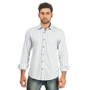 Asset Blue Cotton Striped Button Down Shirt for Men mw104