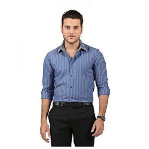 Asset Blue Cotton Striped Shirt for Men mw4