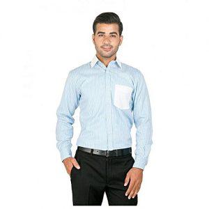 Asset Blue Cotton Textured Striped Button Down Shirt For Men mw15