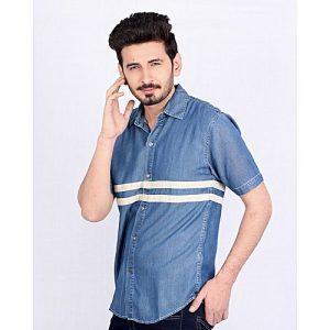 Asset Blue Denim Shirt with White Stripes For Men mw198