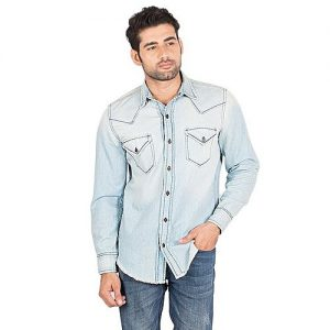 Asset Blue Ice Wash Denim Shirt with Dual Vertical Shoulder Joints Men mw151