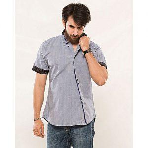 Asset Blue Oxford Cotton Slanted Panel Shirt for Men mw316