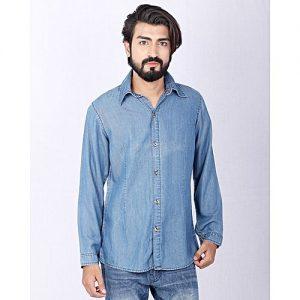 Asset Blue Tencel Denim Shirt for Men with Pleats for Men Name mw300
