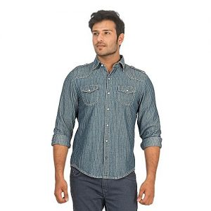 Asset Blue Tencel Denim Striped Shirt with White Buttons for Men mw183