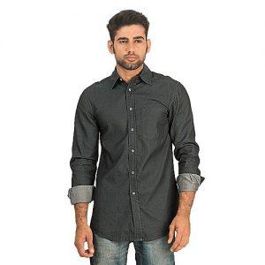 Asset Charcoal Coated Denim Button-down Shirt for Men mw85