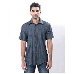 Asset Dark Grey Cotton Denim Shirt With Short Sleeves & Black Buttons For Men mw61