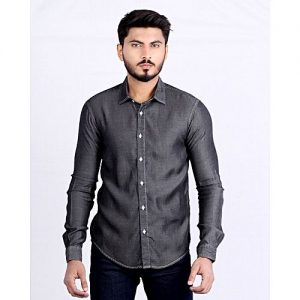 Asset Dark Grey Denim Button Down Shirt Long Sleeves mw171