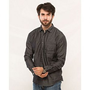 Asset Dark Grey Denim Shirt for Men mw65