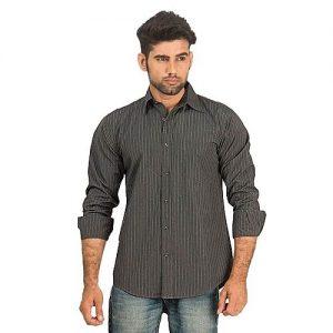 Asset Dark Grey Pinstriped Cotton Shirt for Men mw108