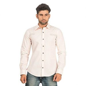 Asset Dusty Pink Cotton Shirt with Patchwork for Men mw30