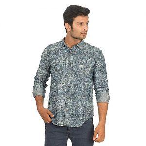 Asset Floral Printed Blue Denim Shirt with Brass Buttons for Men Regular Fit mw195