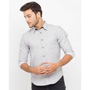 Asset Gray Textured Shirt W/Dark Patch Pocket For Men mw25