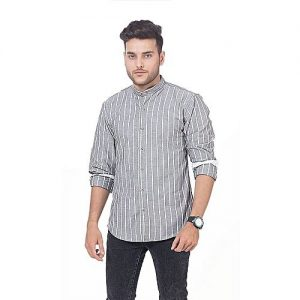Asset Grey and White Striped Cotton Oxford Shirt MD-294 mw260