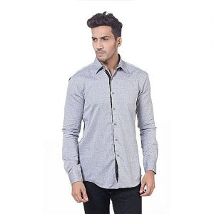 Asset Grey Cotton Button Down Shirt With Small Self Design for Men mw304