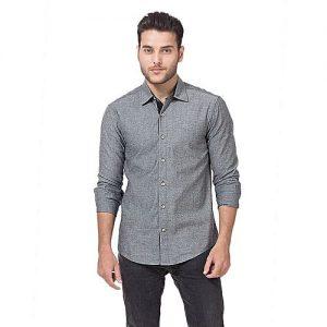 Asset Grey Cotton Oxford Slim Fit Shirt For Men mw34