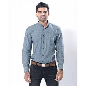 Asset Grey Cotton Shirt for Men mw309